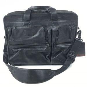 Tumi Black Leather Expandable Organizer Laptop Bag